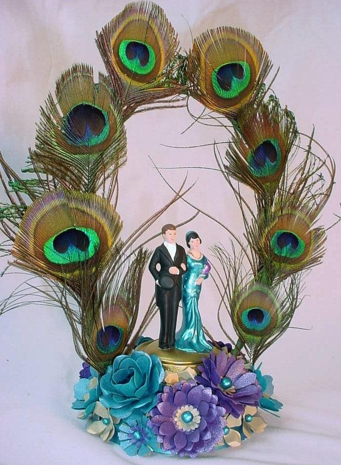 Peacock Wedding Cake Topper