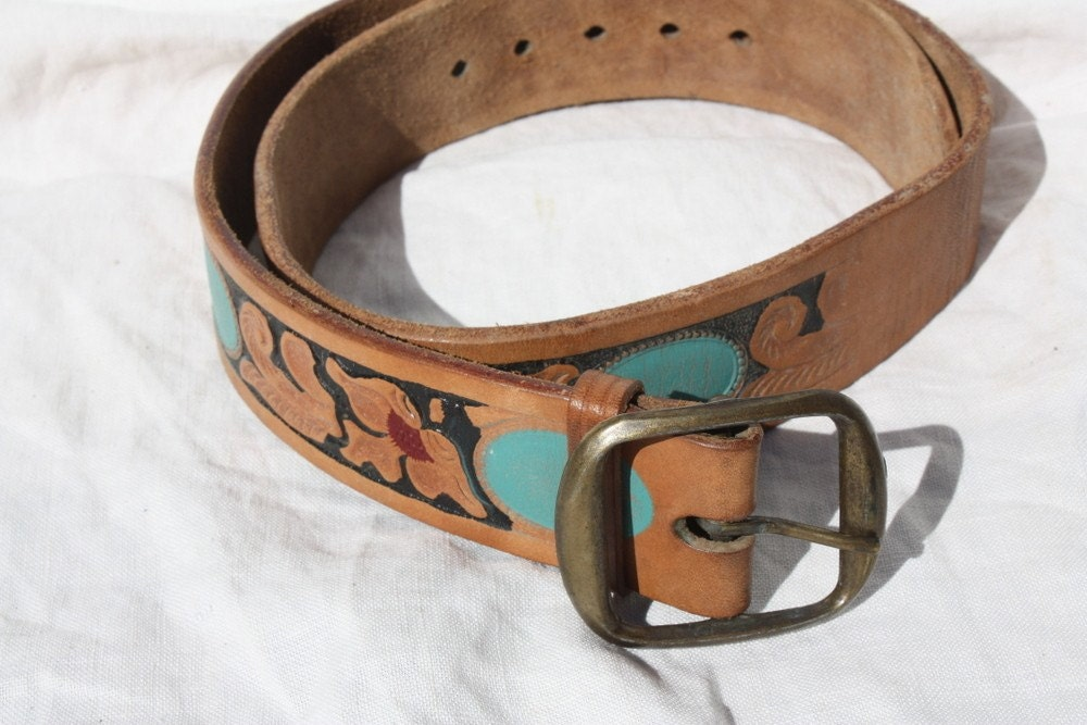 Vintage Red Dogwood and Turquoise BOHO Tooled Steerhide Leather Belt - Size 34 / Small  FREE SHIPPING