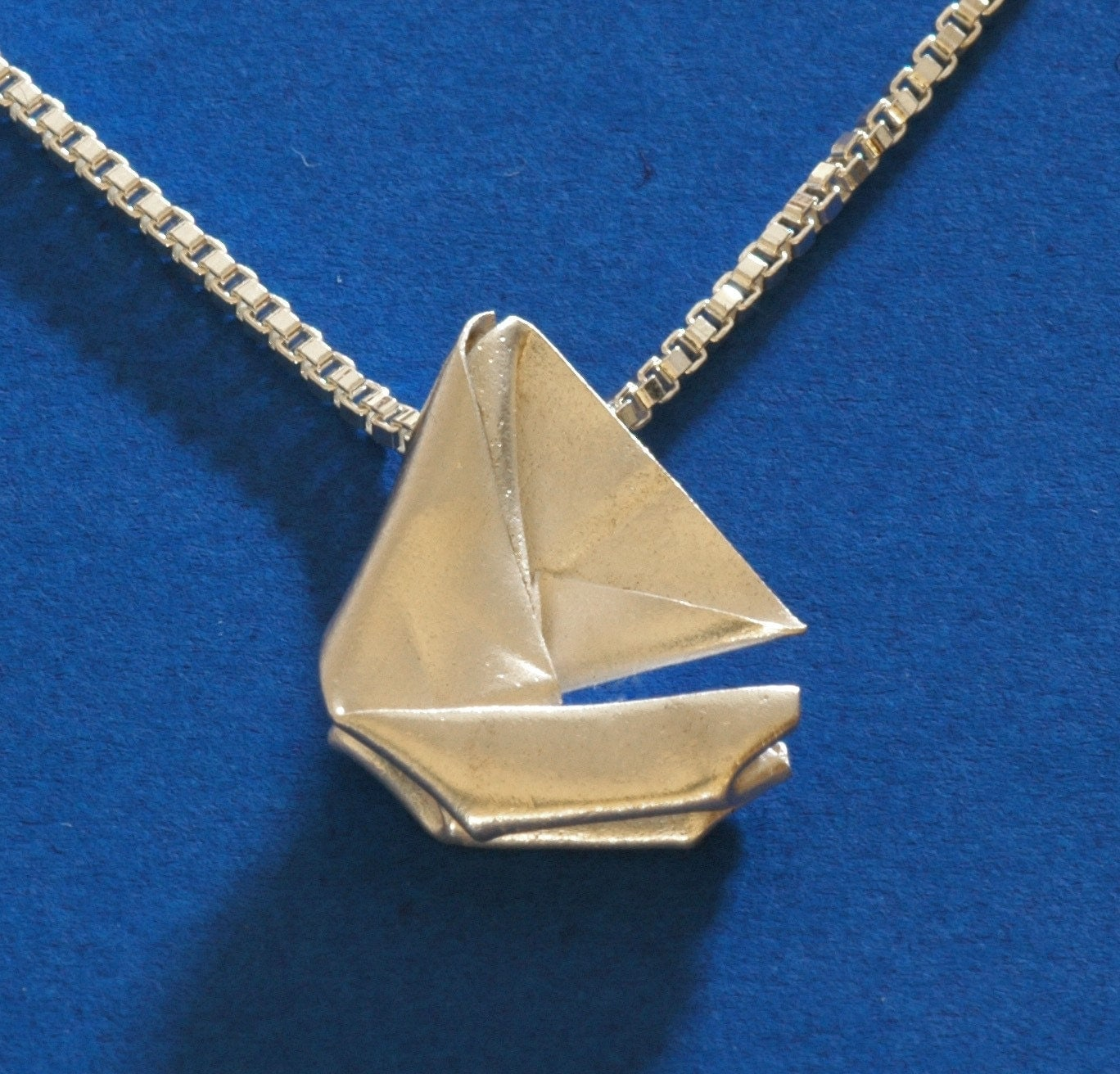 RESERVED for STARBIRD - Sailing Away - Catamaran Pendant (Metal Origami Sculpture on a Sterling Silver Necklace)