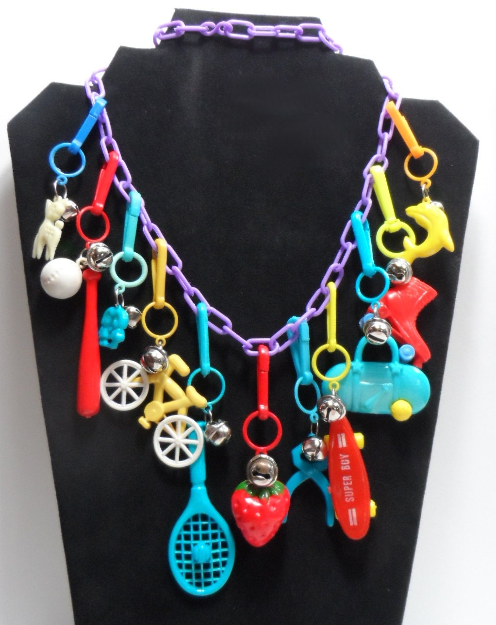 80s plastic charms with bells purple chain necklace by