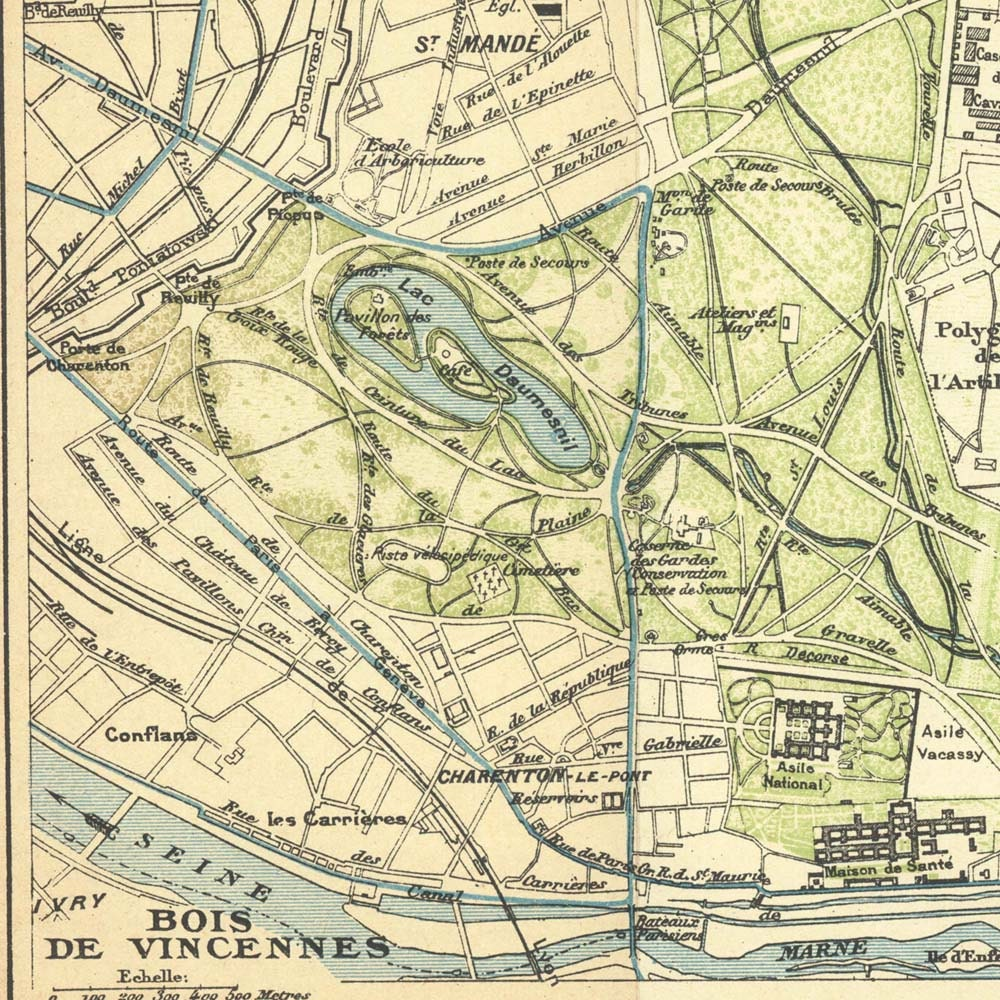 Bois de Vincennes Paris Vintage City Plan 1924  90 Years Old Paris Map Park Forest - CarambasVintage