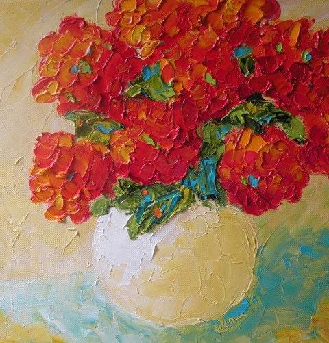 Original Impasto Oil Red Floral