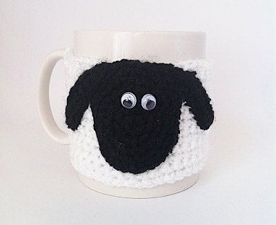 Cup cozy, Coffee Cozy, Sheep Mug, Stocking Stuffer, Secret Santa Gift, Gifts Under 20, Gifts For Him, Gifts For Her - KnitADeeDooDah
