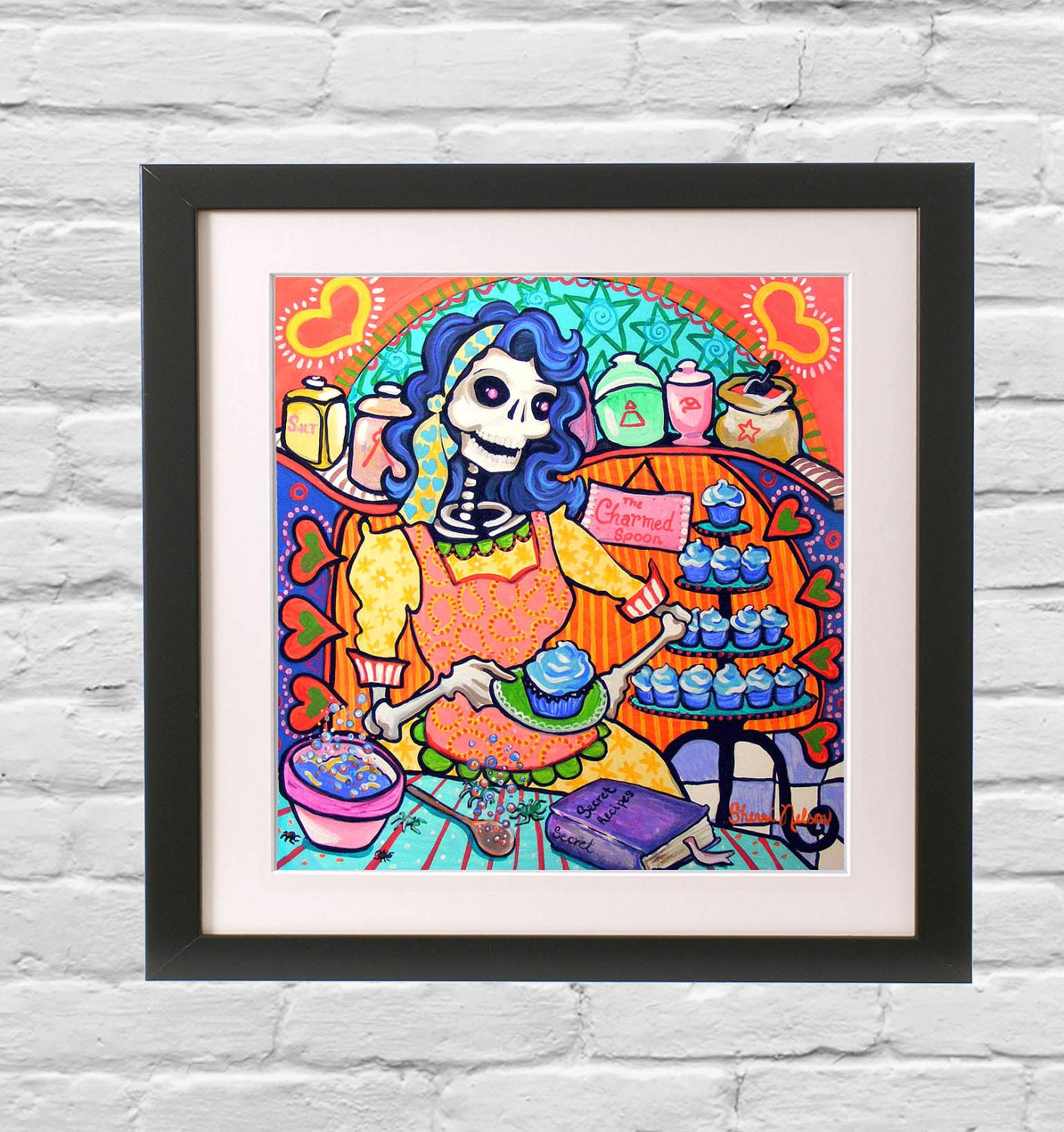 kitchen bakery day of the dead print by bonesnelson