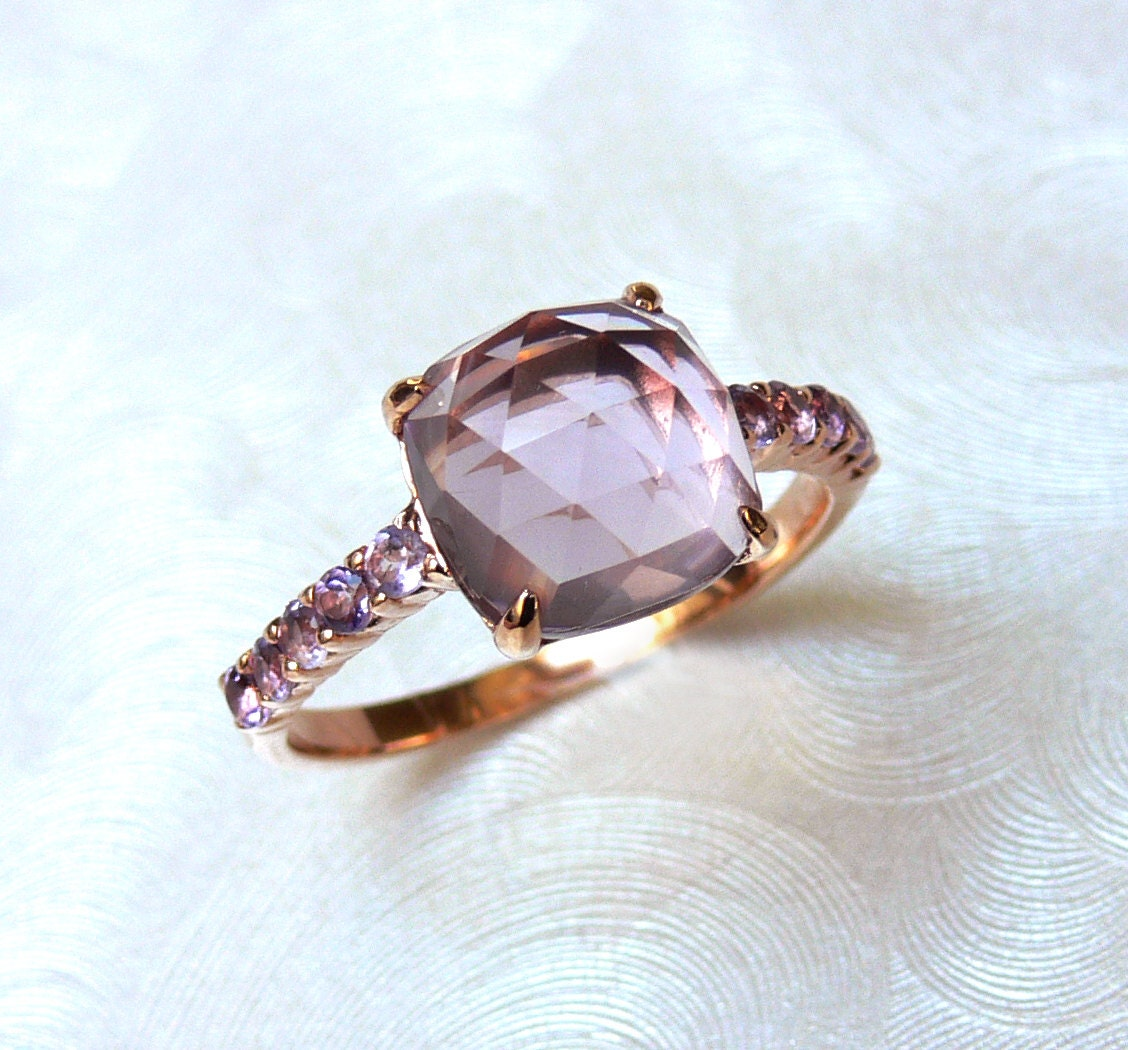 Ready to Ship - Size 6.5 Purple Amethyst Faceted Rose-cut Cushion18K Rose Gold Vermeil Ring - ShowcaseJewelry