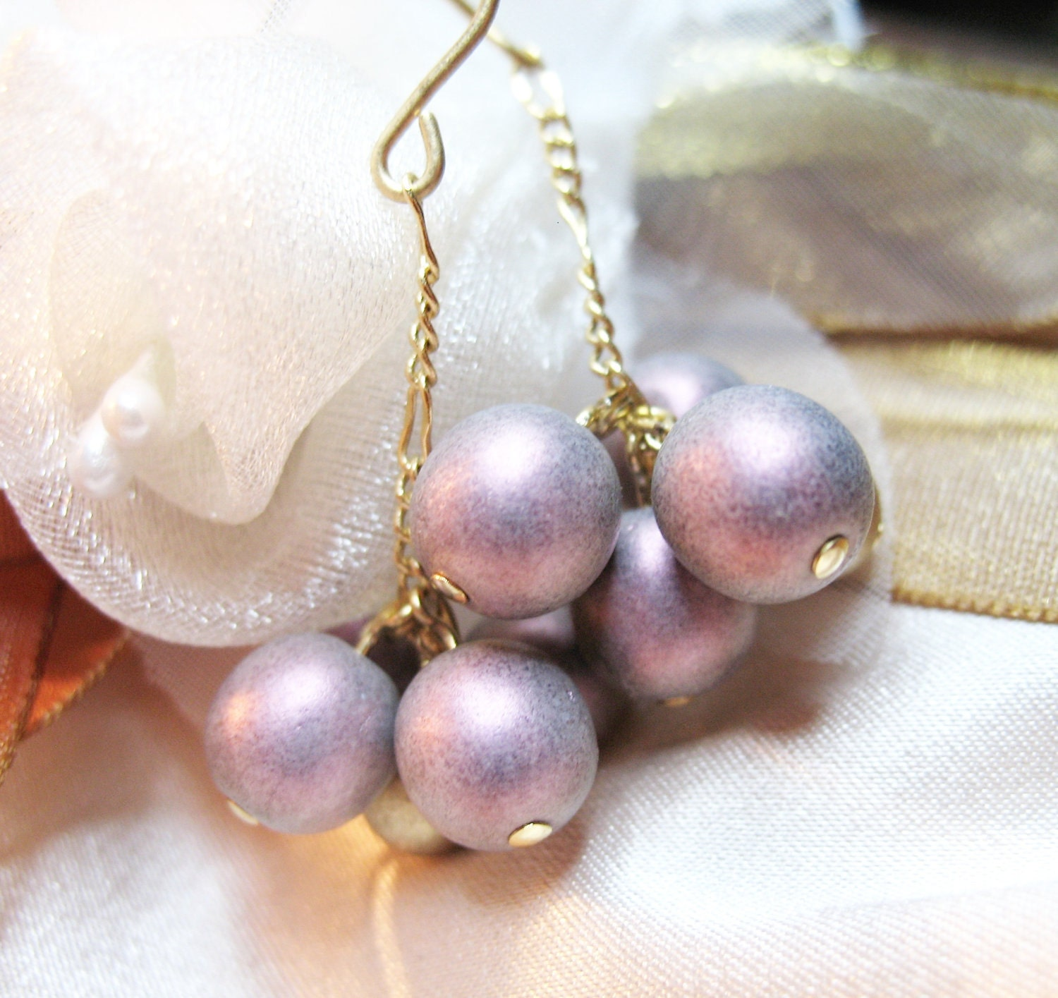 Earrings ooak with czech gold and purple beads 'Berries' - DemyBlackDesign