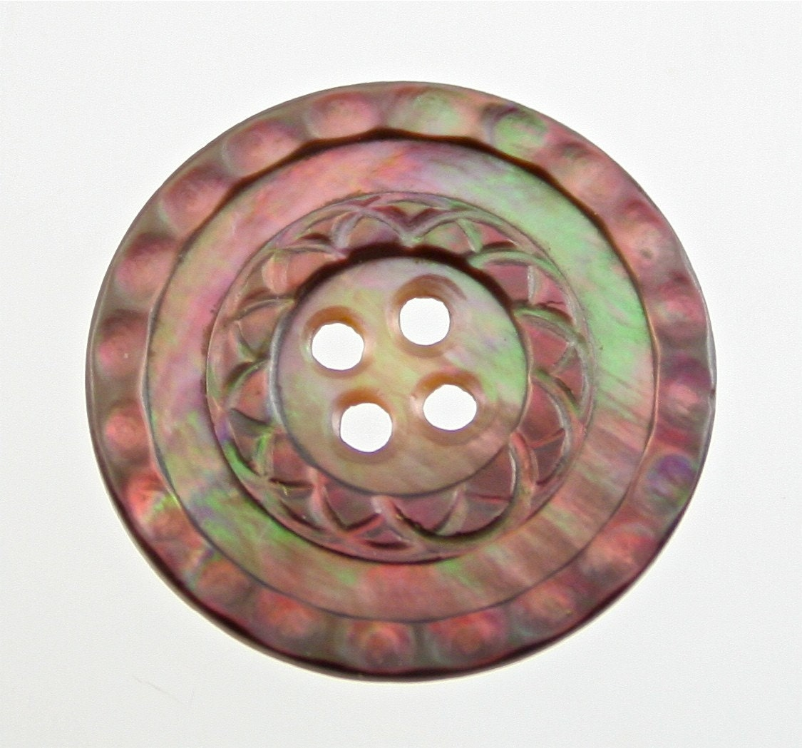 Carved Mother of Pearl Button - Smoky Gray 28mm BEAUTIFUL COLORS