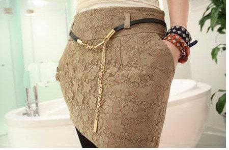 Jukugal tan lacy mini skirt with handmade belt super chic S