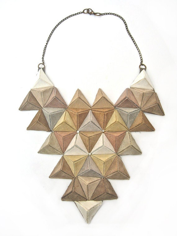 NATURAL ORDER unique statement 3D bib necklace in natural shades of suede - BlackMarketJewels