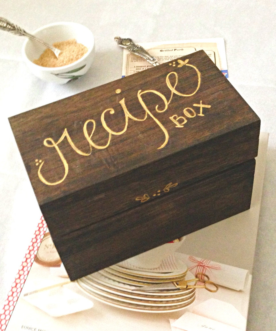 Handcrafted Recipe Box Can Be Personalized By Honeybeeinvites