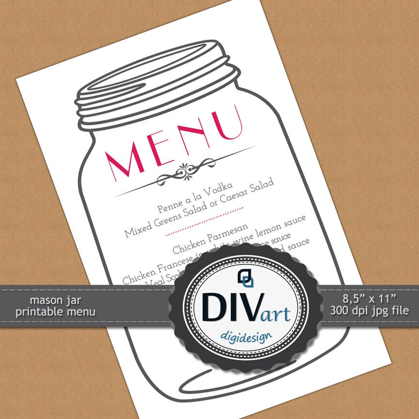 Printable Party Decorations - Mason Jar Menu, Invitation, Save the Date - CUSTOM color and font