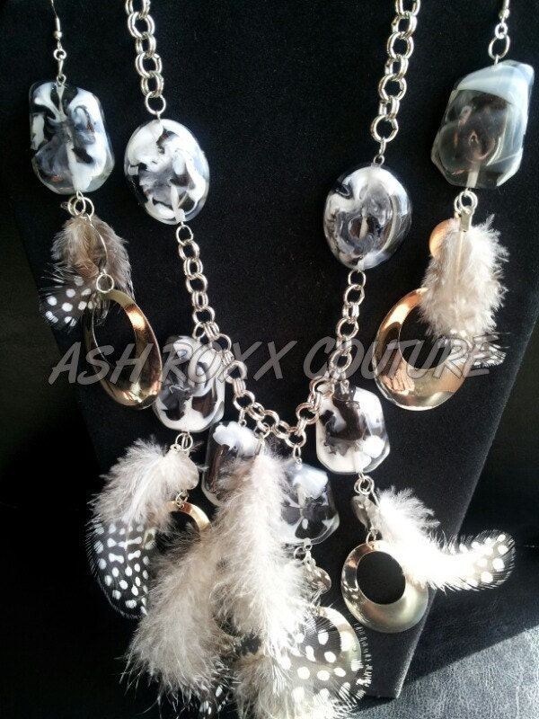 Love and hip hop Atlanta basketball wives Feathered Silver Earrings and necklace