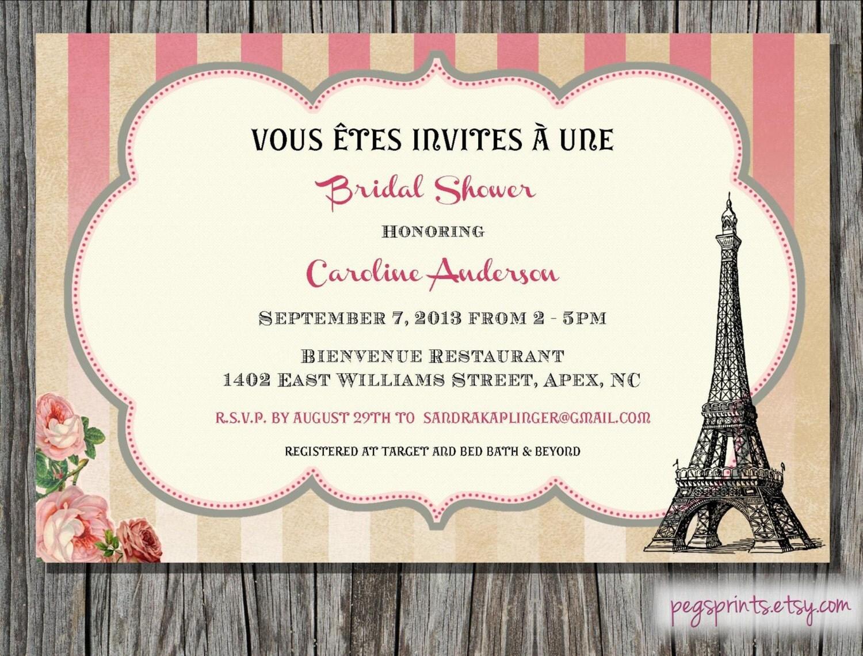 Paris themed bridal shower invitation printable by pegsprints for Paris themed invitations bridal shower