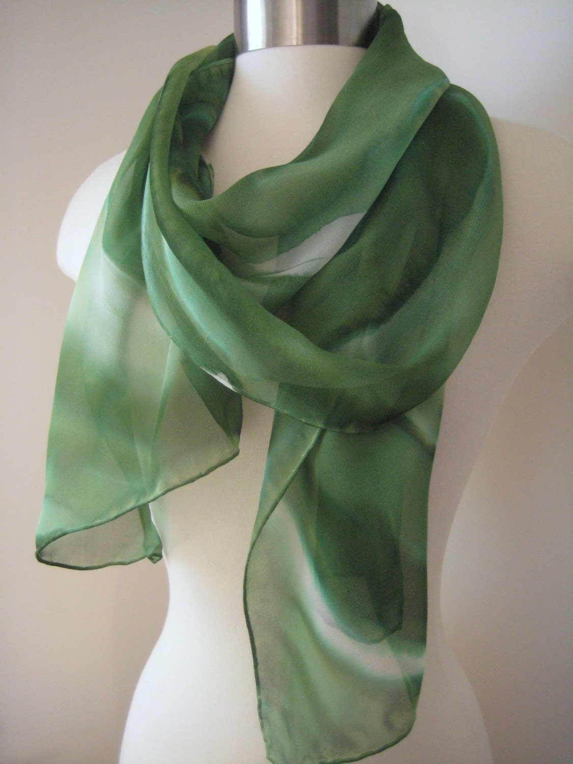 Aerial View sheer hand painted silk chiffon scarf