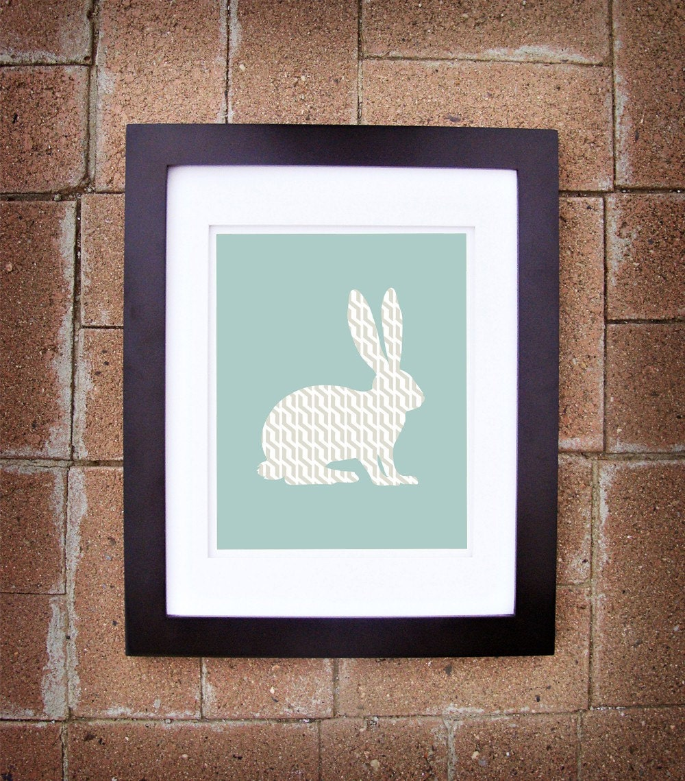 Modern Bunny Rabbit Silhouette - 8x10 Printable