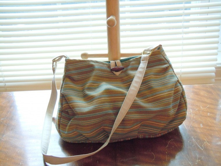 ON SALE! Handmade Purse in a tan and  teal stripe