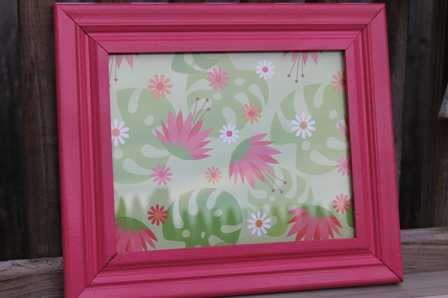 Hot Pink Picture Frame With Art-Upcycled valentines day shabby chic, modern, retro