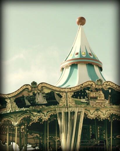 Vintage circus carnival carousel pastel art photgraphy print