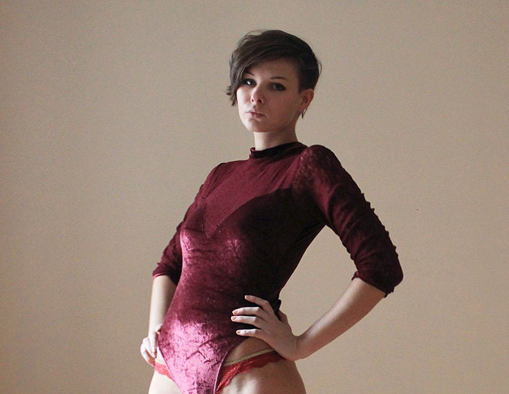Oxblood red lace velvet leotard - founditgreat