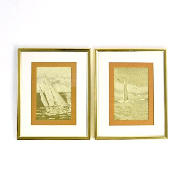 Vintage Sailboat & Lighthouse Gold Etching