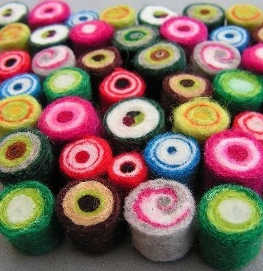 10  misc hand-felted beads