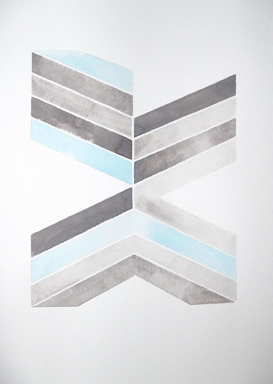 WATERCOLOR ORIGINAL PAINTING - Geometric - Modern - Black - Gray - Light Blue - GeometricInk