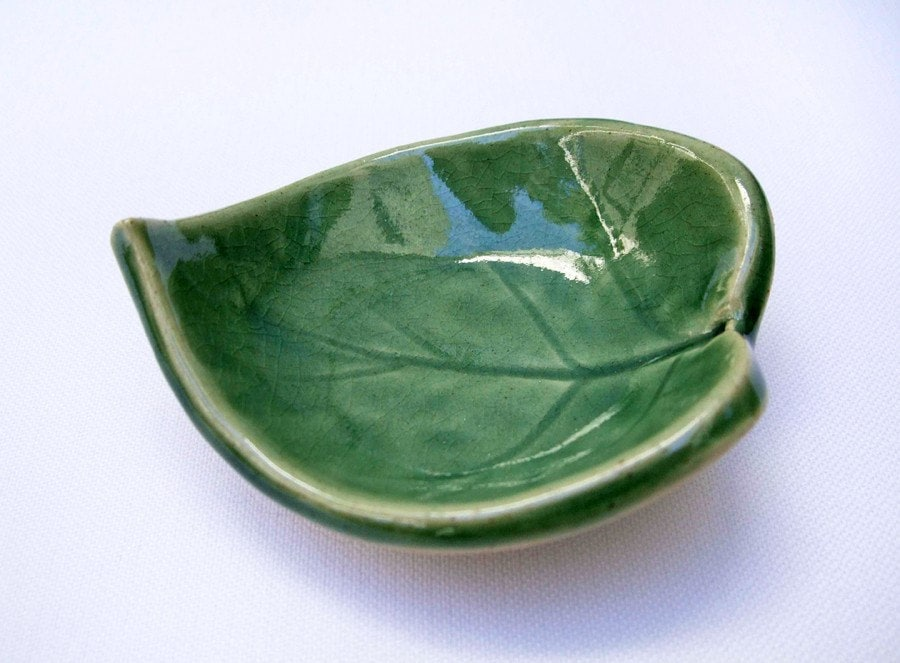 Tiny Green Leaf Bowl, Ceramic by artlauren