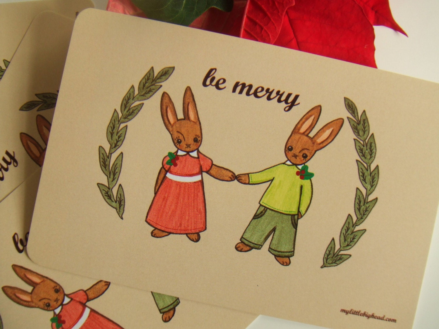 Be Merry Holiday postcards set of 10