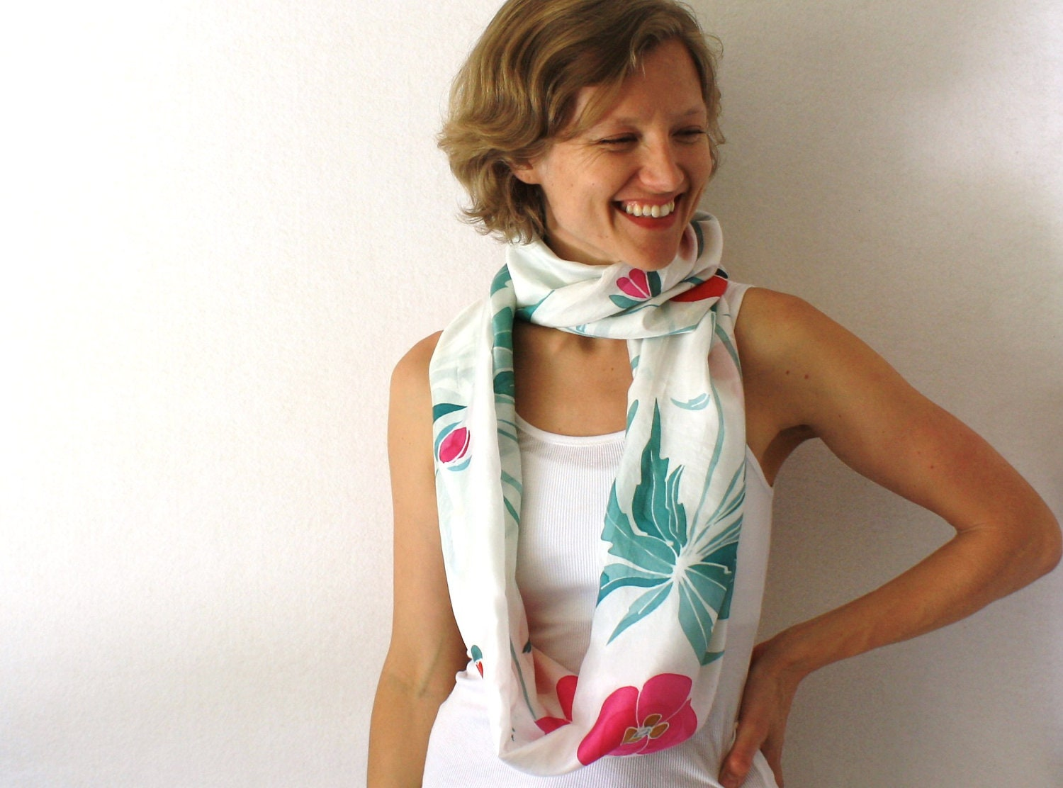 White Silk Scarf - Poppies - Hand Painted Silk Scarf - Pink and Red Circle Scarf - Infinity Scarf - White Loop Scarf