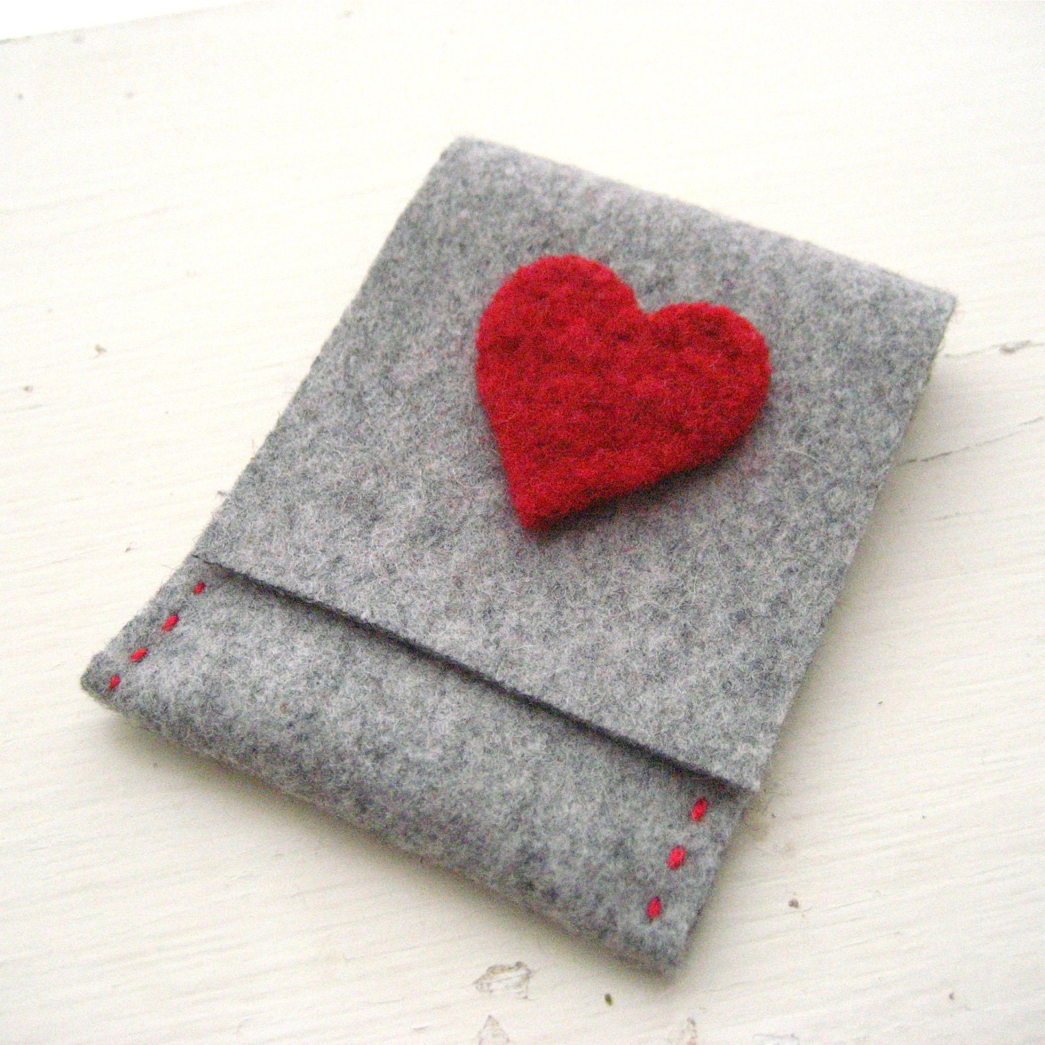 Grey Felt Card Holder/Wallet with Valentine's Red Heart
