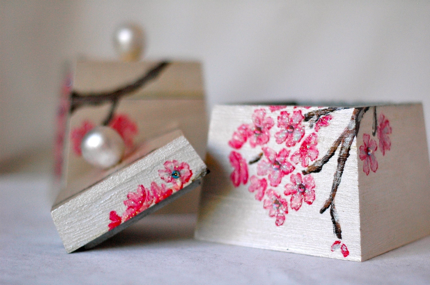 Set of 2, Handpainted Decorative Boxes with Cherry Blossoms, Butterflies, and Gems