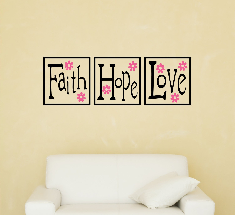 Items similar to faith hope love decal flower vinyl for Faith decor