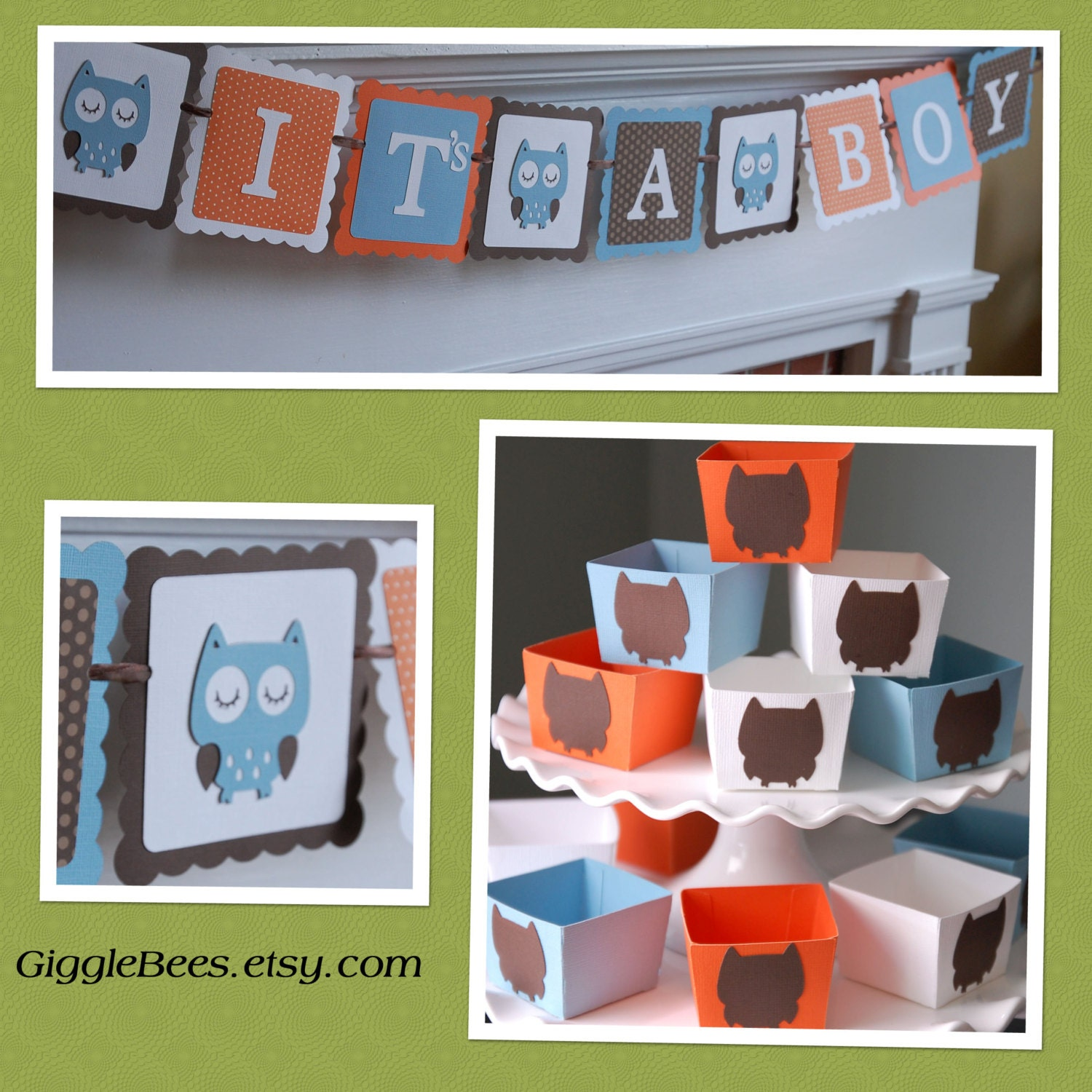 Owl baby shower package owl decorations it 39 s a boy by for Baby shower decoration packages