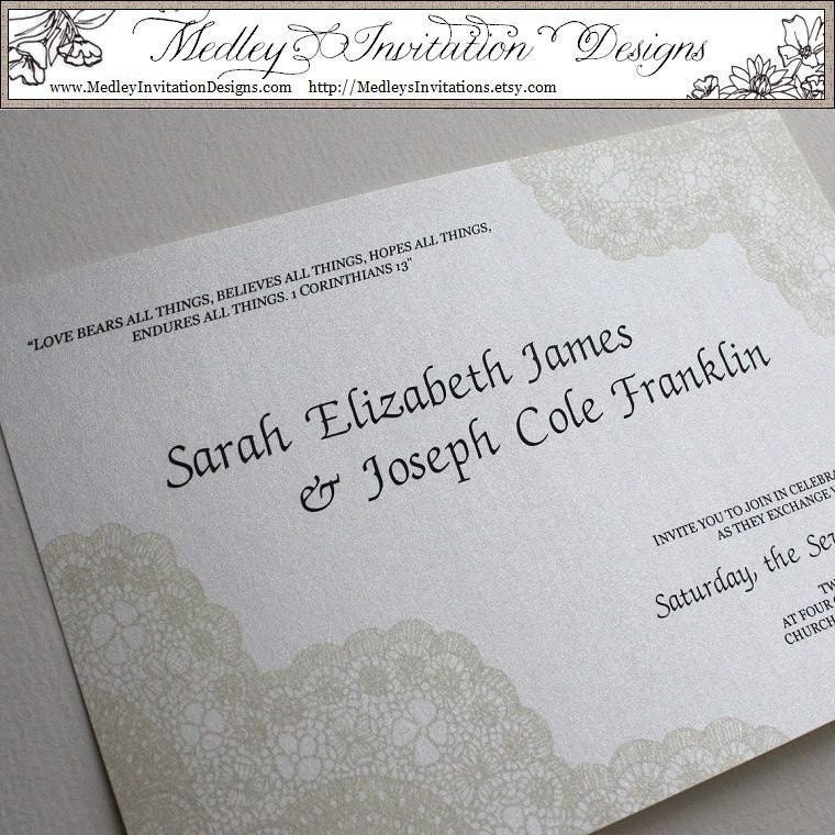 Cream, Ivory Vintage Antique Lace Wedding Invitation Set