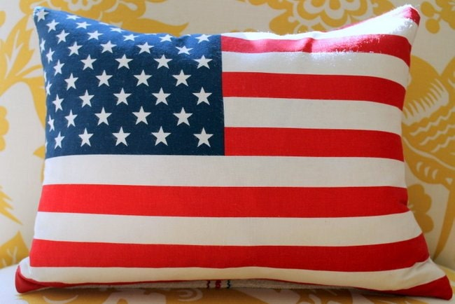 American United States Flag pillow cover 12 x 16 Reversible Vintage grain sack zipper closure