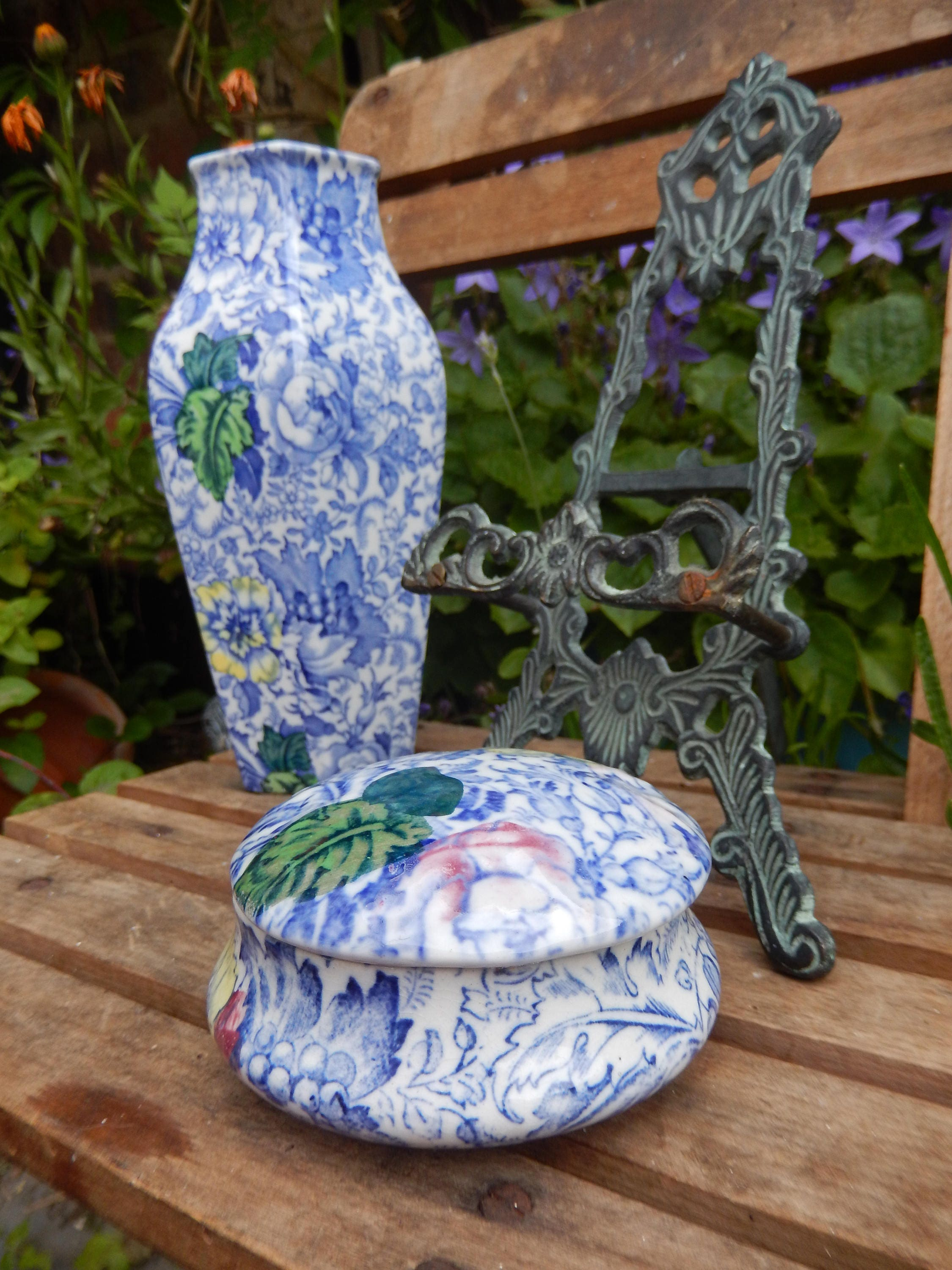 Art Deco Woolworth Brocade Vase and Pin Tray c 192030s Frederick RheadDesigner  Blue Chintz Ceramics Woods of England Country Cottage