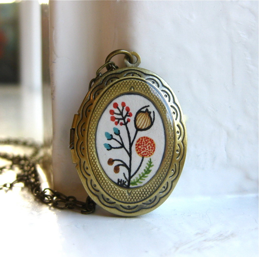 Hand Painted Necklace - Classic Beauty No. 1, Pretty Hand Painted Locket Pendant Necklace