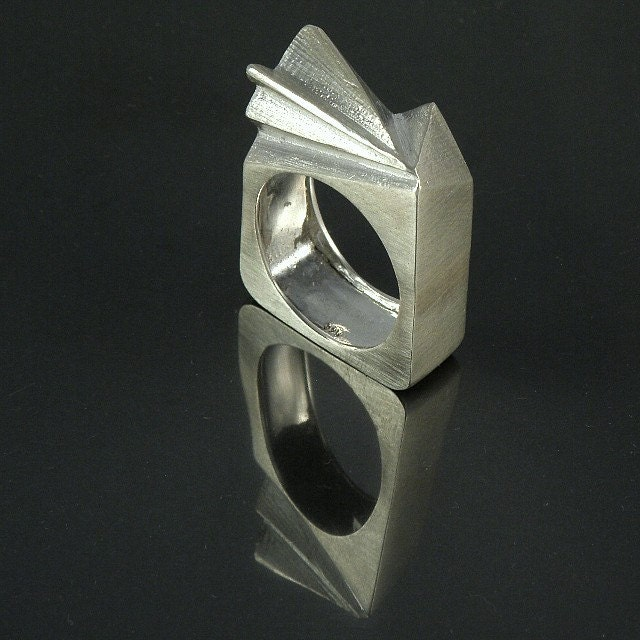 TRIANGLES SQUARE  Sterling Silver Ring by efratjewelry on Etsy from etsy.com