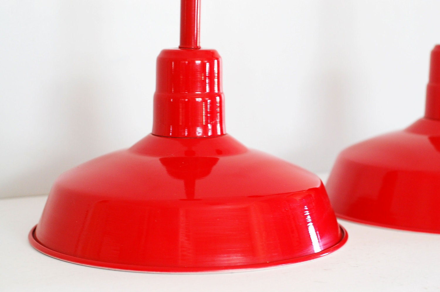 Vintage Industrial Warehouse Light Candy Red Pendant Lamp