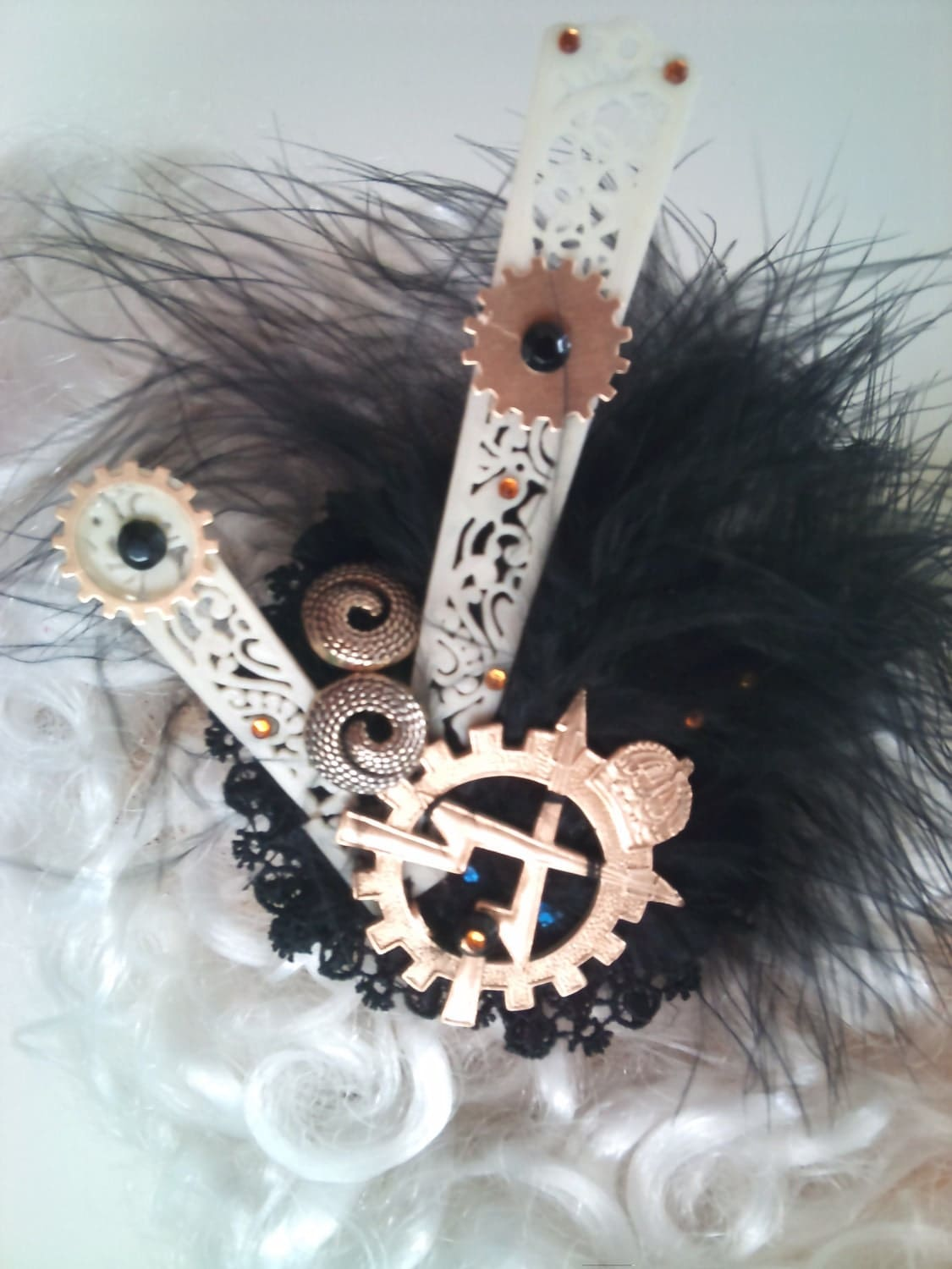 black Feathered Fascinator - steampunk features