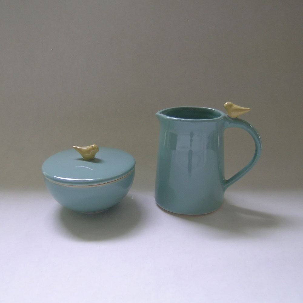 Bird Sugar and Creamer Ceramic Set in Robin Egg Blue