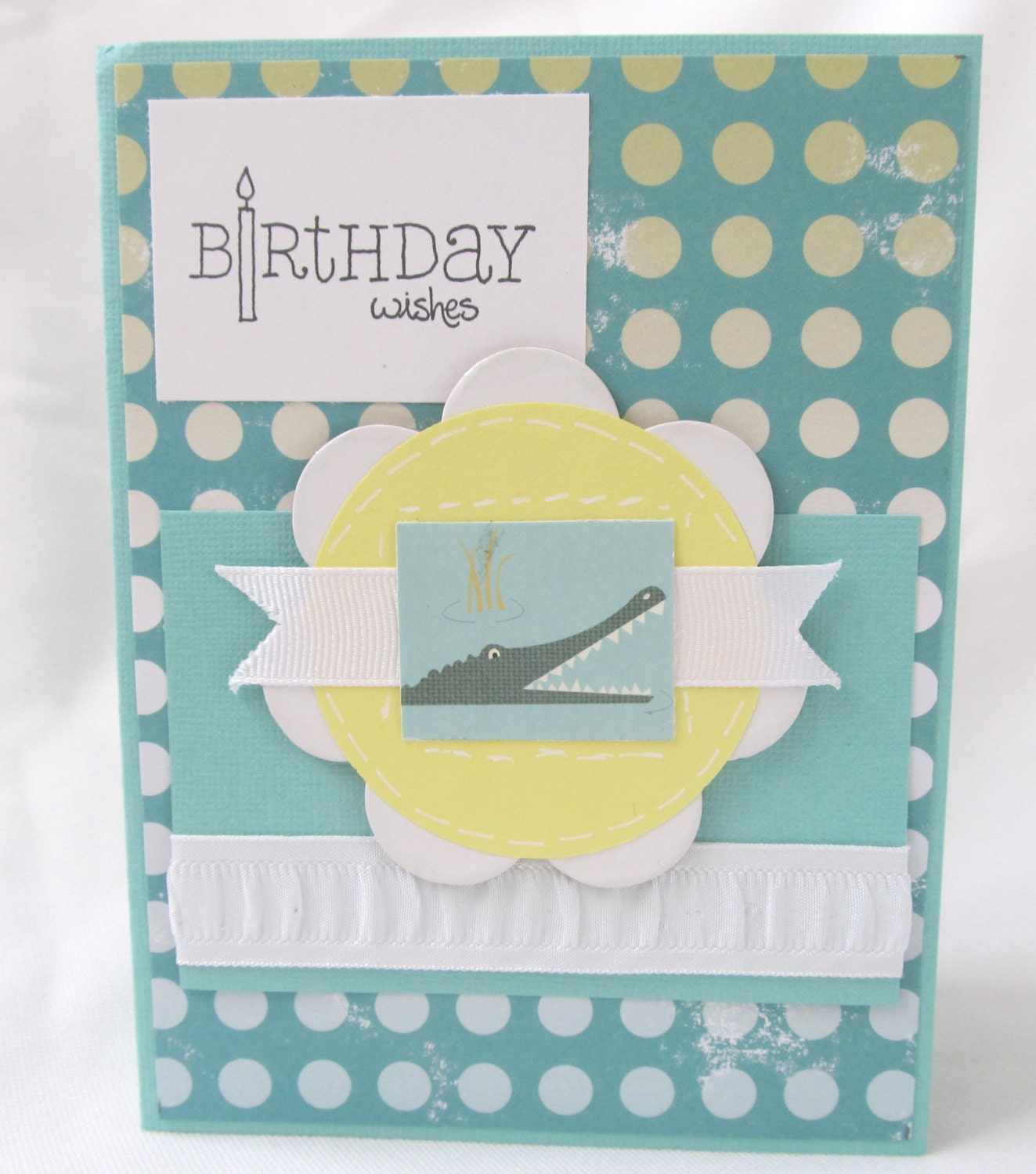 Handcrafted Card - Birrthday Card - Child's Birthday Card - Happy Birthday - Alligator - Turquoise and Yellow - Blank Card - Hand Stamped - PrettyByrdDesigns