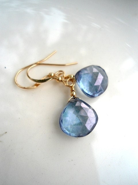 Blue Quartz Earrings, 14K Gold Filled Earrings, Blue, Delicate Earrings, Quartz Earrings, Gold Earrings, Bridesmaids Earrings - BeaJewelry