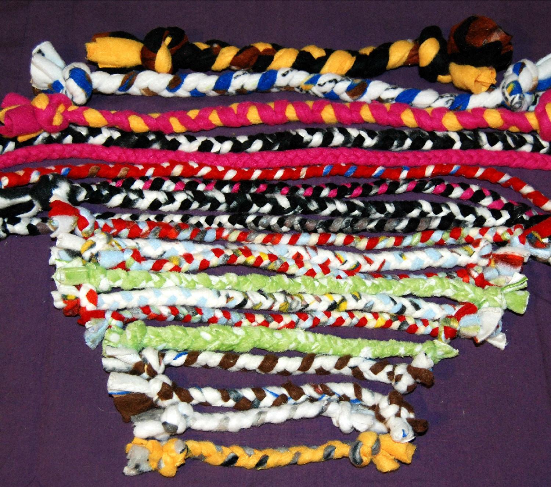 Dog Tug Toy Agility: Set Of 4 Braided Fleece Dog Agility Tug Toys By