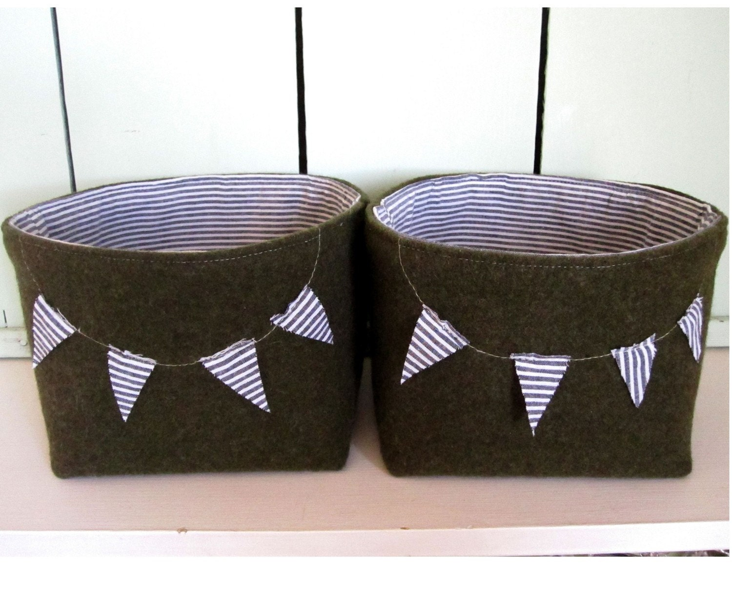 Custom Listing For emilytravis Set of Two Fabric bins with Bunting Made from Grey Organic Cotton Canvas