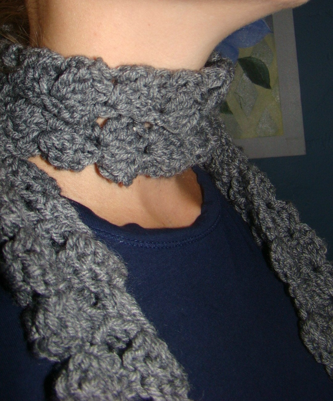Gray cozy scarf with fringe