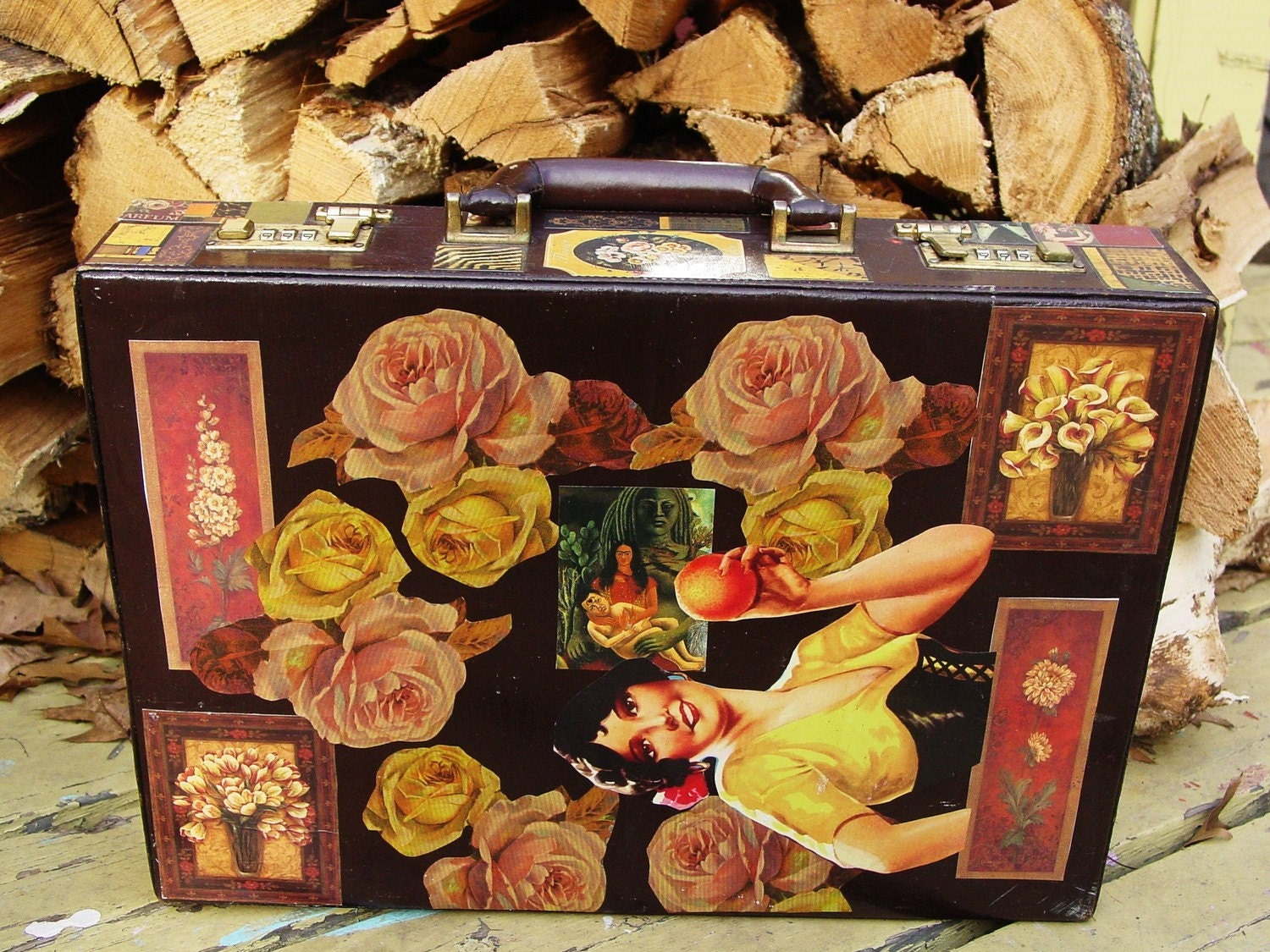 Frieda Kahlo vintage leather briefcase by recycled artist C. Reinke