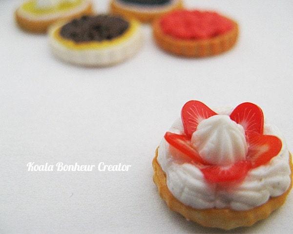 Kawaii Strawberry Whip cream fruit tart Polymer Clay Ring