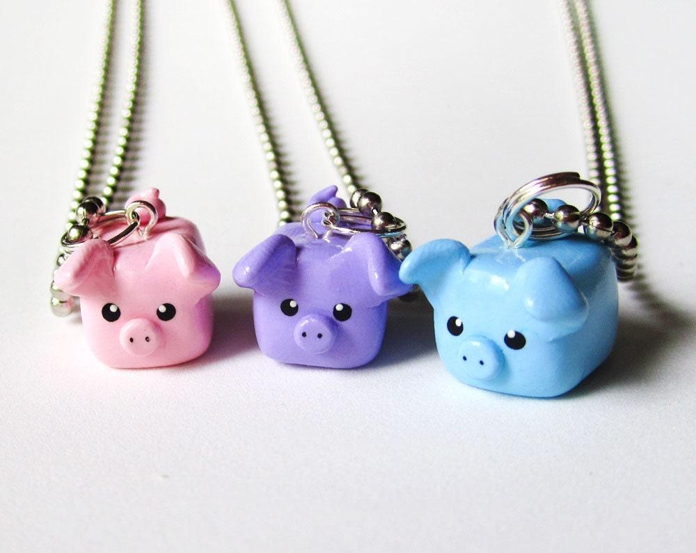 Pastel Colors Three Little Pigs Best Friend Necklace Set of 3 - MadAristocrat