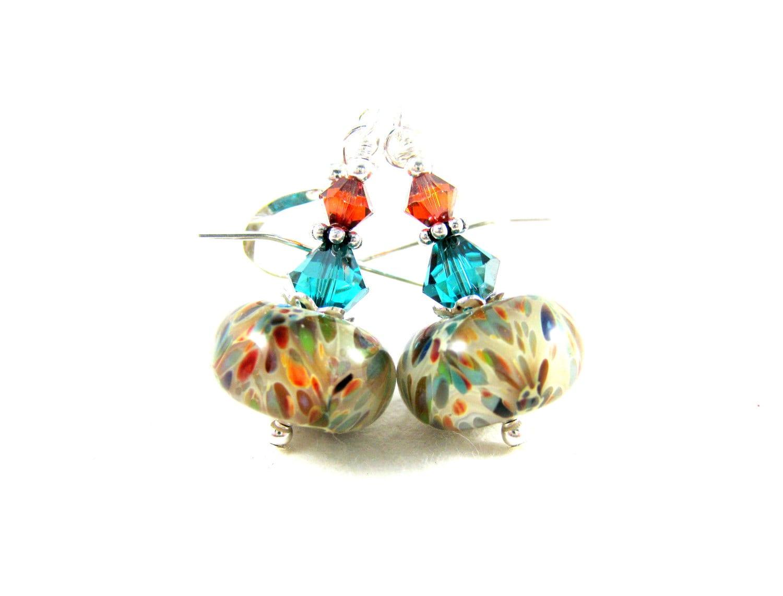 Colorful Glass Earrings, Beige Teal Red Orange Green Earrings, Boro Earrings, Lampwork Earrings, Beadwork Earrings - Fall Frolic - GlassRiverJewelry